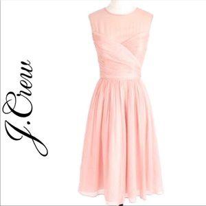 J.Crew Clara Light Pink Silk Chiffon Dress Size 0P